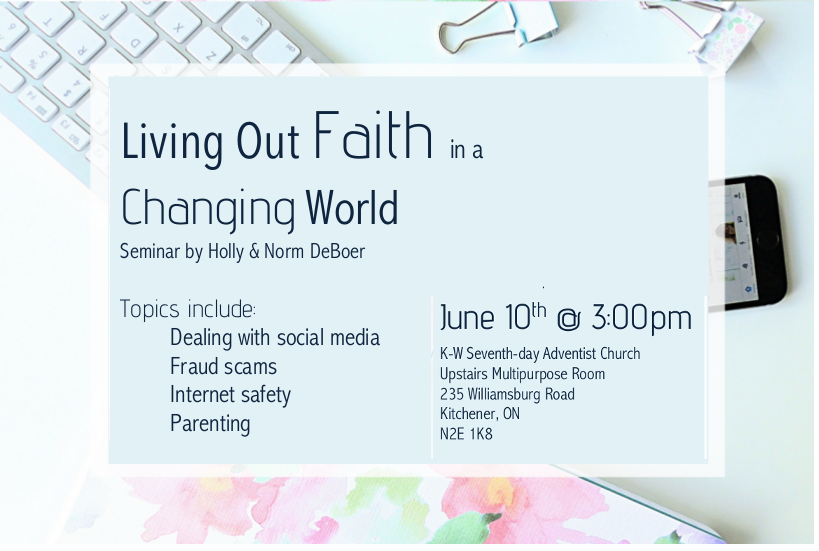 Upcoming Events Living out Faith in a Changing World - Kitchener ...